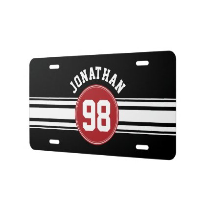 Black and Red Sports Jersey Custom Name Number License Plate