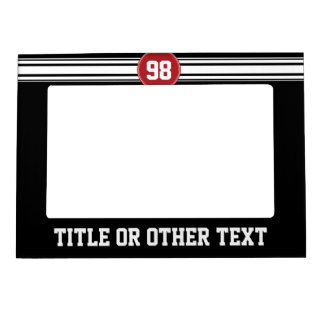 Black and Red Sports Jersey Custom Name Number Magnetic Photo Frame