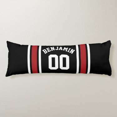Black and Red Sports Jersey Custom Name Number Body Pillow