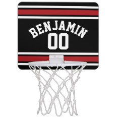 Black And Red Sports Jersey Custom Name Number Mini Basketball Hoop at Zazzle