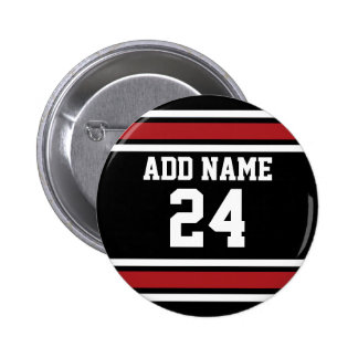Black and Red Sports Jersey Custom Name Number Pinback Button