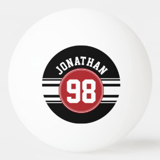 Black and Red Sports Jersey Custom Name Number Ping-Pong Ball