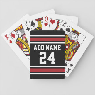 Black and Red Sports Jersey Custom Name Number Poker Cards