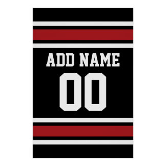 Black and Red Sports Jersey Custom Name Number Poster