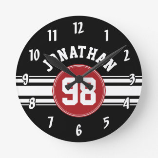 Black and Red Sports Jersey Custom Name Number Round Clock