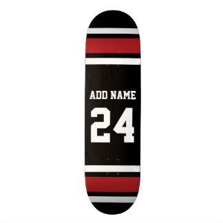 Black and Red Sports Jersey Custom Name Number Skateboard