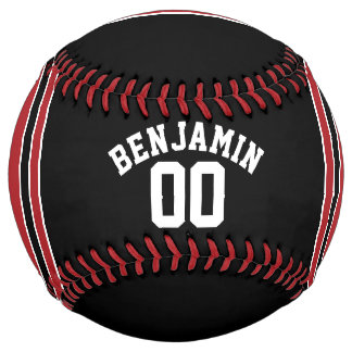Black and Red Sports Jersey Custom Name Number Softball