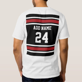 Black and Red Sports Jersey Custom Name Number T-shirt