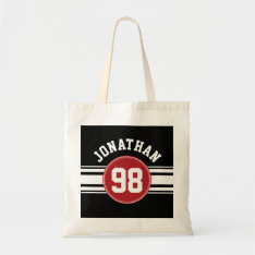 Black And Red Sports Jersey Custom Name Number Tote Bag at Zazzle