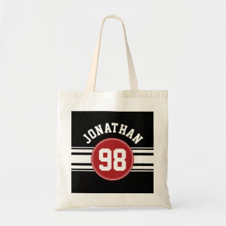 Black and Red Sports Jersey Custom Name Number Tote Bag