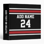 Black and Red Sports Jersey Custom Name Number Vinyl Binders