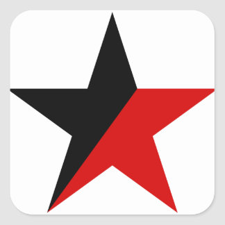 Black and Red Star Anarcho-Syndicalism Anarchism Square Sticker