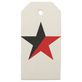Black and Red Star Anarcho-Syndicalism Anarchism Wooden Gift Tags