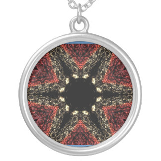 Black and red star kaleidoscope necklace