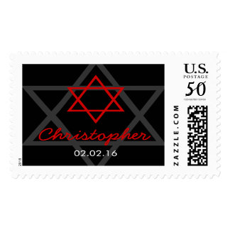 Black and Red Star of David Bar Mitzvah Postage