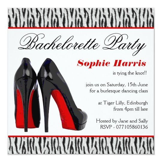 Black and Red Stiletto Heels Bachelorette Party Card