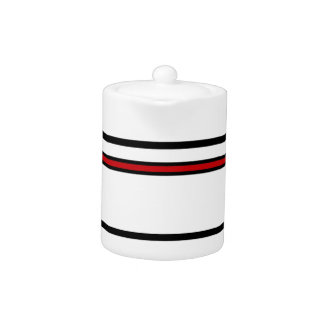 Black and Red Stripe Teapot