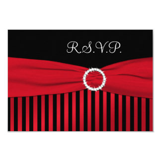 Black and Red Striped Reply Card