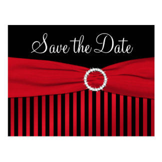 Black and Red Striped Save the Date Postcard