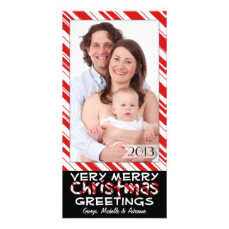 Black and Red Stripes Family Photo Christmas Cards