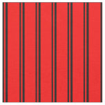 [ Thumbnail: Black and Red Stripes/Lines Pattern Fabric ]