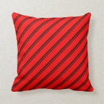[ Thumbnail: Black and Red Stripes/Lines Pattern Throw Pillow ]