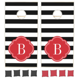Black and Red Stripes Monogram Cornhole Sets
