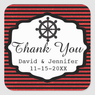 Black and Red Stripes   Nautical Square Sticker