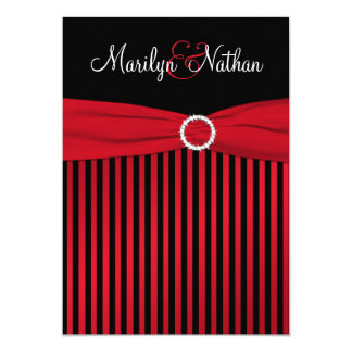 Black and Red Stripes with White Wedding Invite