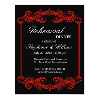Black and Red Swirl Rehearsal Dinner Invitation