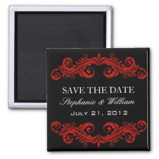 Black and Red Swirl Save The Date Magnet