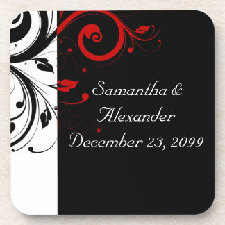 Black and Red Swirly Vines Coaster