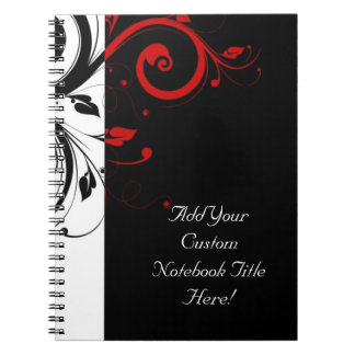 Black and Red Swirly Vines Notebook