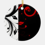 Black and Red Swirly Vines Christmas Tree Ornaments