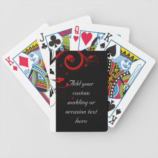 Black and Red Swirly Vines Bicycle Poker Cards