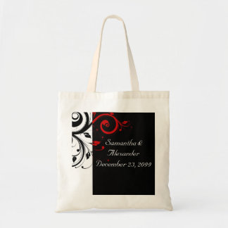 Black and Red Swirly Vines Tote Bag