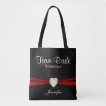 Black and Red Team Bride Tote Bag