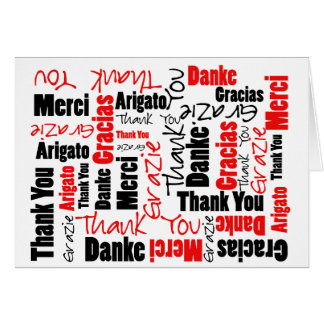 Black and Red Thank You Word Cloud Stationery Note Card