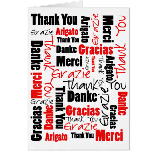 Black and Red Thank You Word Cloud Greeting Card