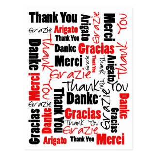 Black and Red Thank You Word Cloud Post Card