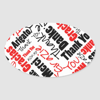 Black and Red Thank You Word Cloud Stickers