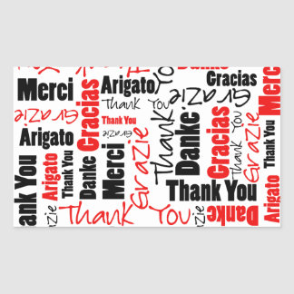 Black and Red Thank You Word Cloud Rectangle Sticker