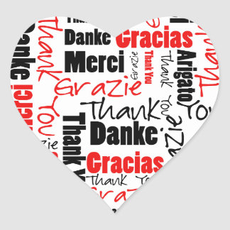 Black and Red Thank You Word Cloud Heart Sticker