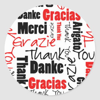 Black and Red Thank You Word Cloud Round Stickers