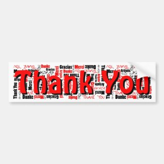 Black and Red Thank You Word Cloud Template Bumper Sticker