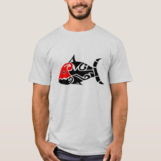 Black and Red Tribal Fish T-shirt