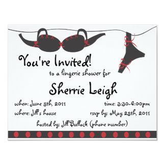 Black and red undies bridal shower invitation