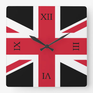 Black and Red Union Jack Square Wall Clock