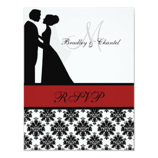 Black and Red Wedding Couple RSVP Card Personalized Invitation