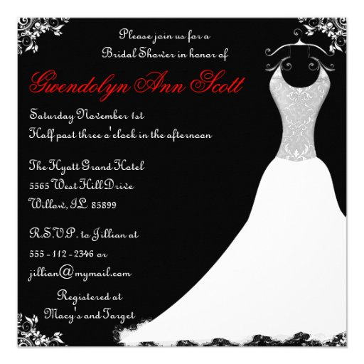 Black and red wedding gown bridal shower invites for Black and white bridal shower invitations